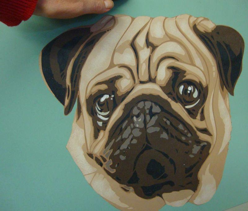 Pug dog stencil library. VN pug 47