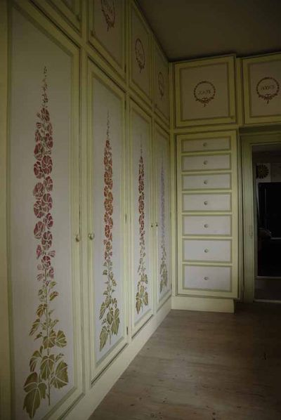 Gustav stencilled drawers ans wardrobes