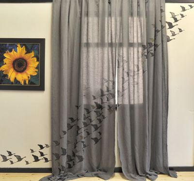 Geese stenciled Curtains