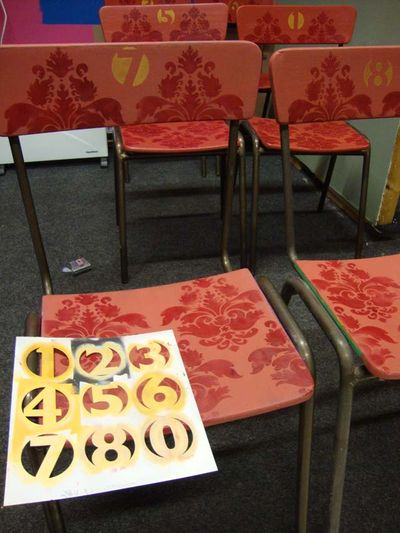 Stenciled damask chairs 20