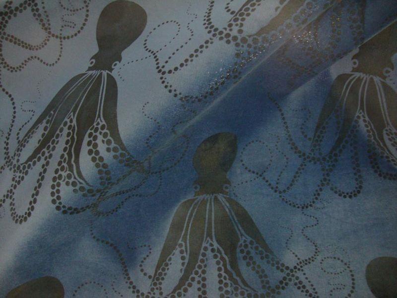 Octopus stencil on velvet 74