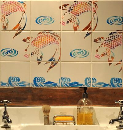 Fish stencil tiles