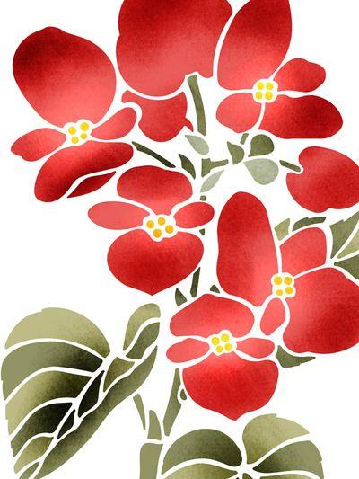 Stencil-library.com GR7 Begonia