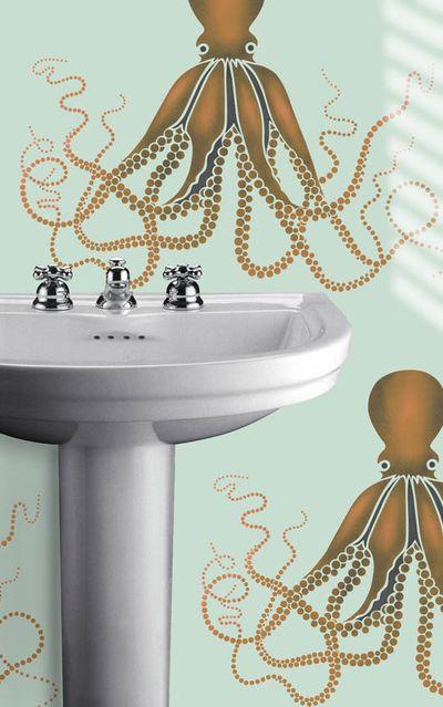 VN octopus stencil bathroom No3