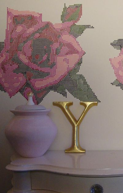 Tapestry rose stencil detail 78