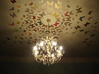 Butterfly stencil on ceiling 96