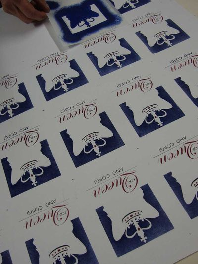 Stenciling 4 queen and corgi labels35