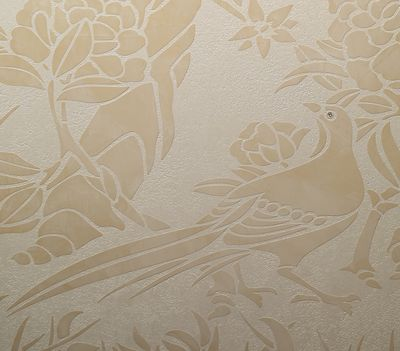 Chinoiserie stencil with plaster