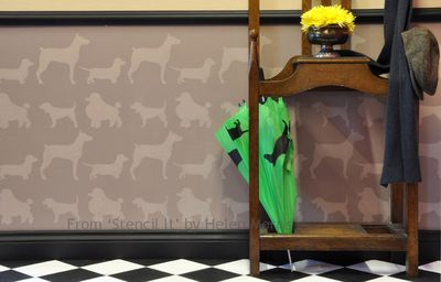 Stencil it dog wallpaper stencil