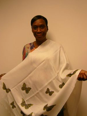 Betty's stenciled butterfly shawl jpg