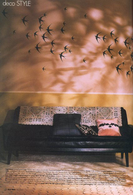 Swallow bird stencil elle deco 25