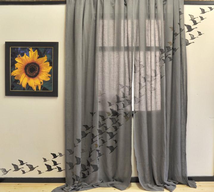 Geese stencil Curtains