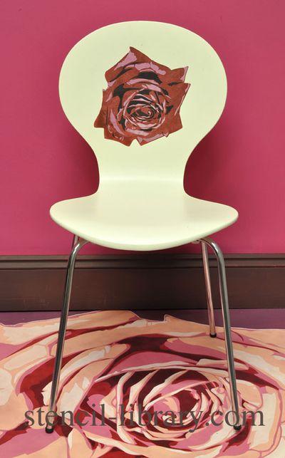 SIB2-M Rose stencil Chair text