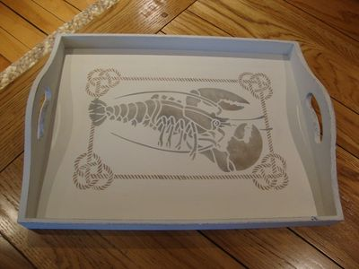 Stenciled tray rope and lobster392