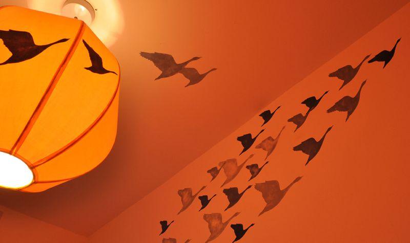 Geese stencil ceiling