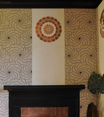 Stencilled crest and wall panels