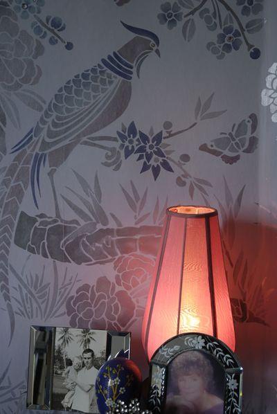 Oriental bird stencil 36-1