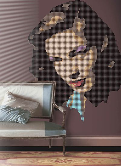Bacall stencil dots on wall