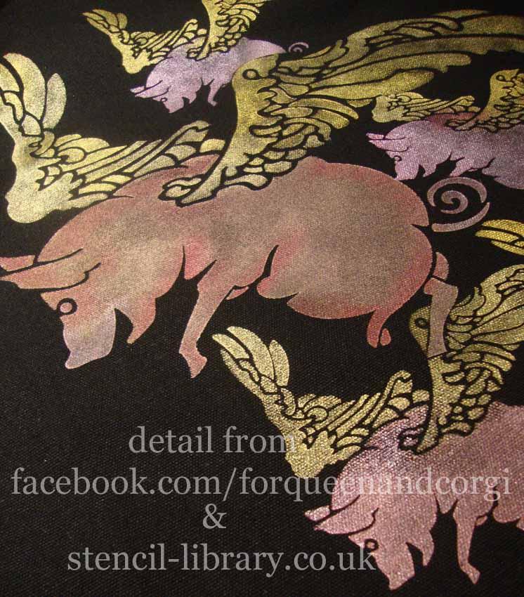 Flying pig stencil