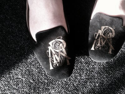 Stencil monogram slippers