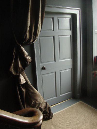 Curtains at grey door 87