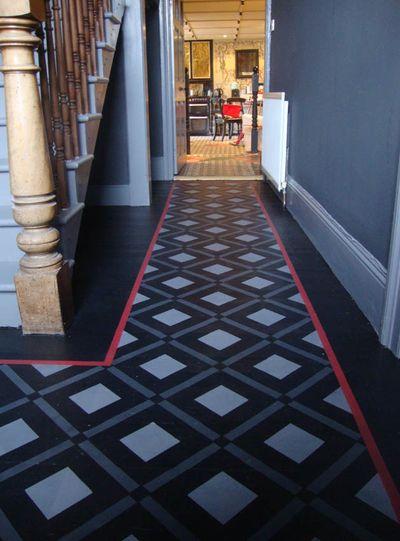 Stencilled geometric floor