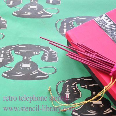 Retro telephone stencil