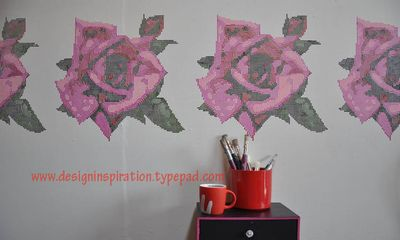 Tapestry rose stencil 20