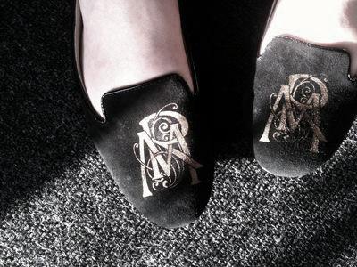 Stencil monogram slippers