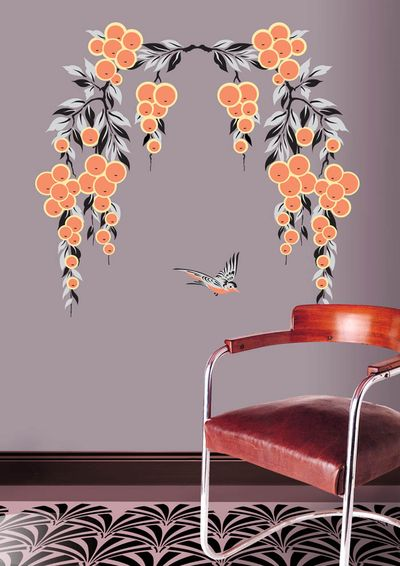 Art deco oranges stencil mirror image