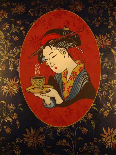 Geisha, tea, flower stencils em 01