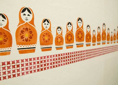 Russian doll stencil border 25