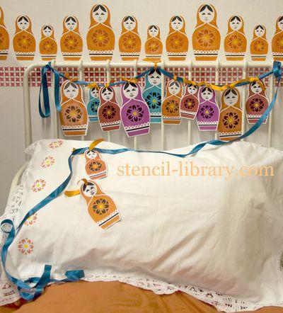 Russian doll stencil bunting18