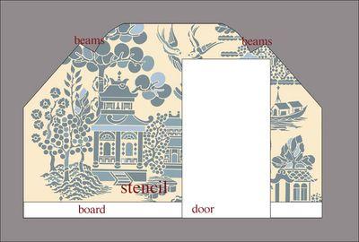 Attic willow pattern stencil wallC