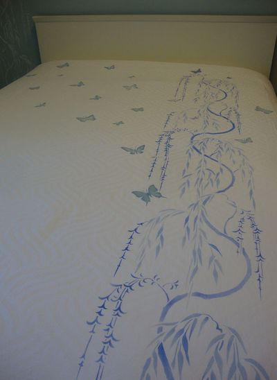 Butterfly and willow stencil bedcover 971