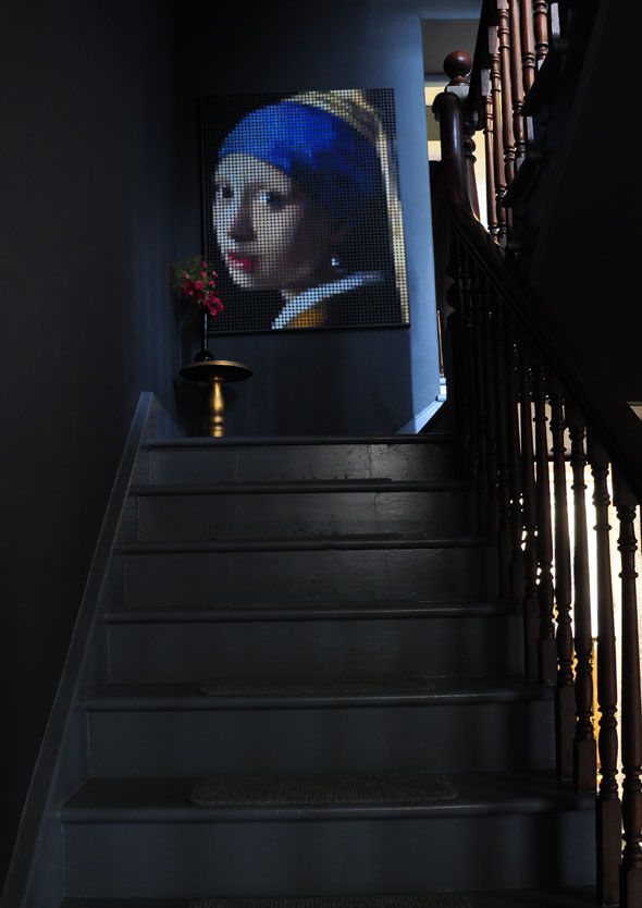 Rearl earring on stairs.06