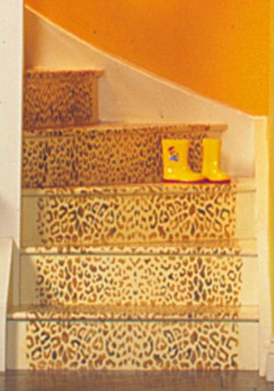Leopard stencil stairs detail