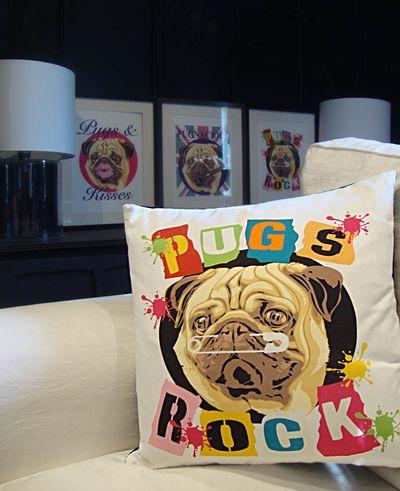 Pugs rock cushion 66