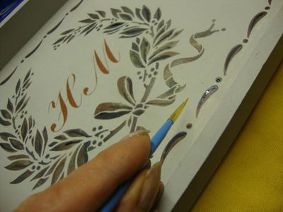 Hand paint stencil tray35