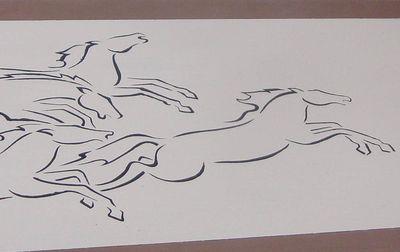 Horses stencil 40