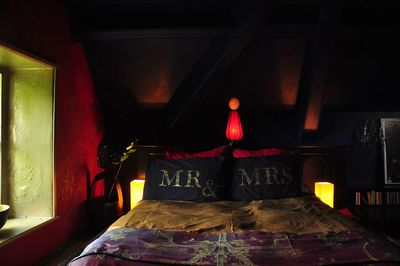 Mrs & Mrs stencil pillow 44