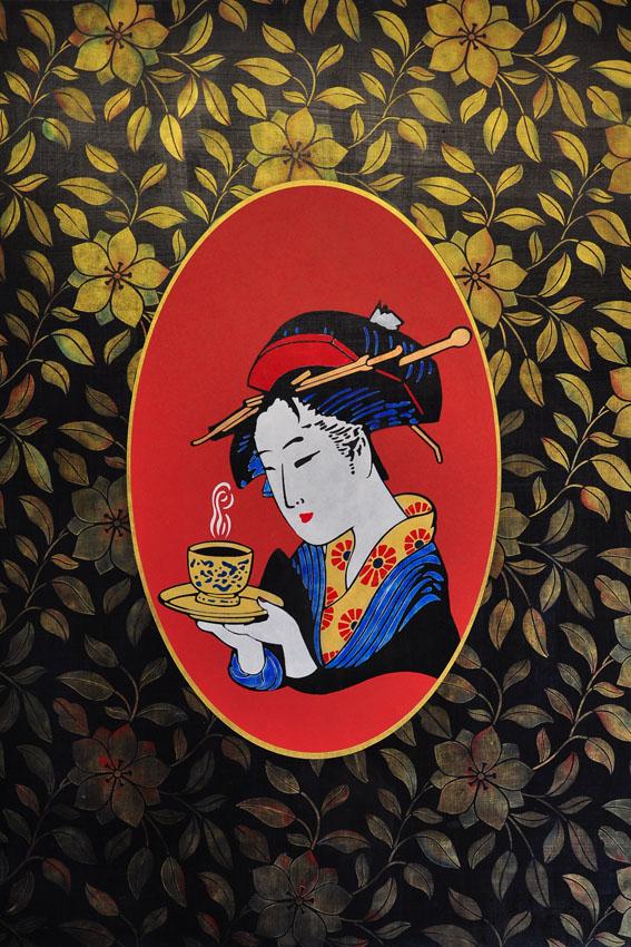 Geisha clematis stencil lr13