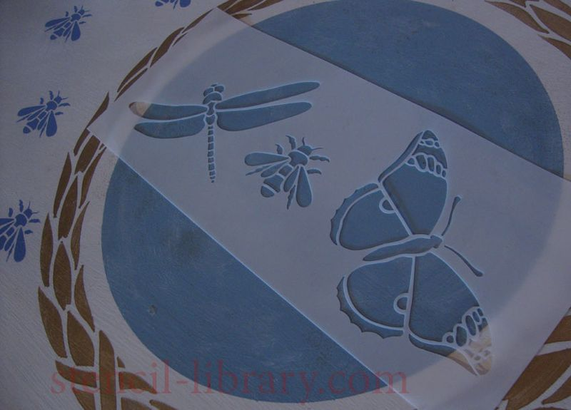 Dragonfly bee stencil T54