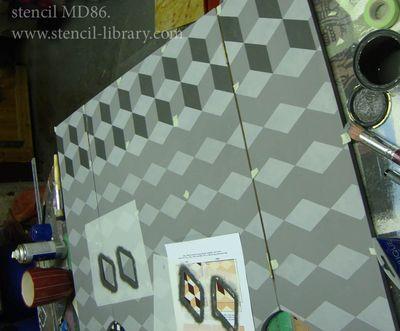 MD86 cubes stencil 86