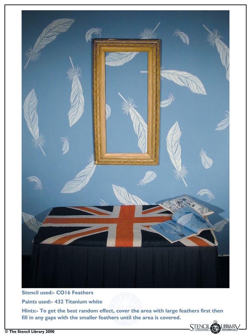 CO16 feather stencil