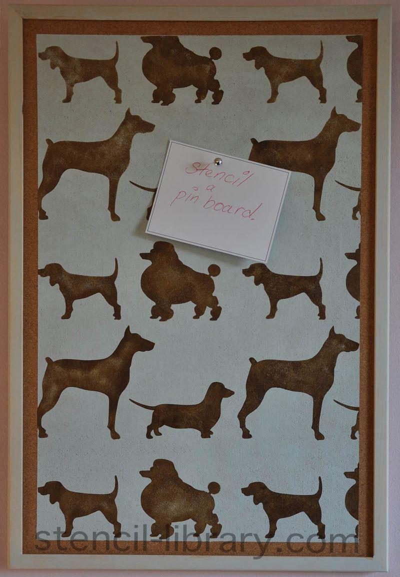8 stencil dog pinboard 56