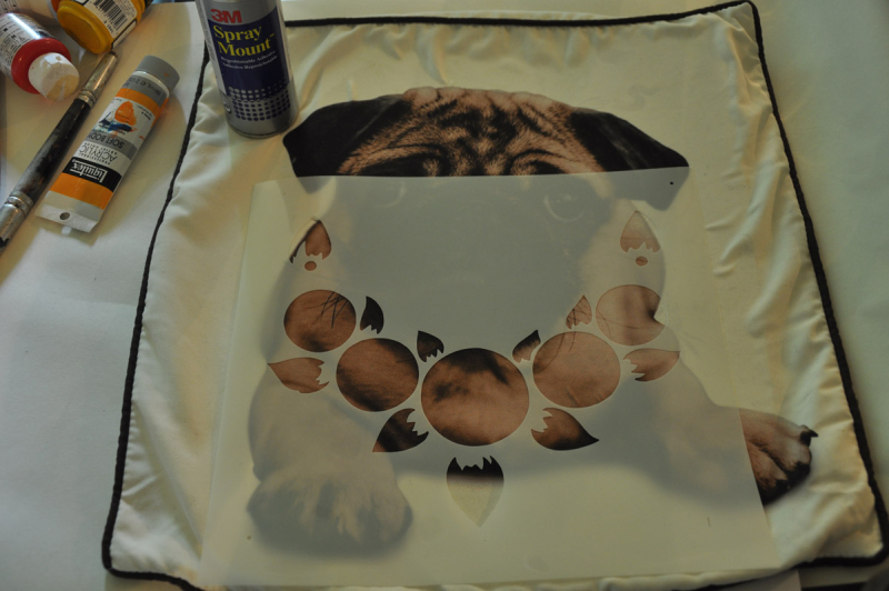 2nd stage stencilled pug cushion