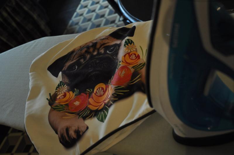 Stencilled pug cushion before heatset paint