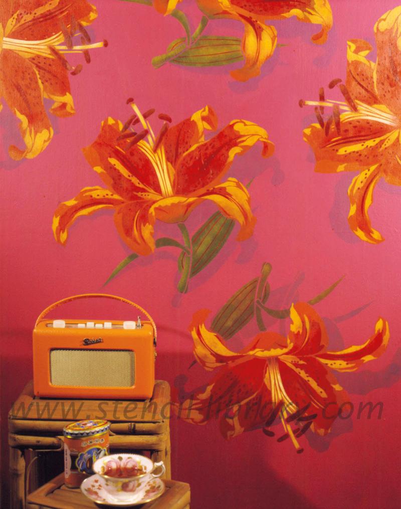 Vintage large lily stencil