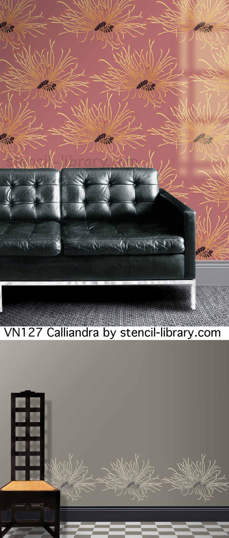 Calliandra by stencil-library 2 ways